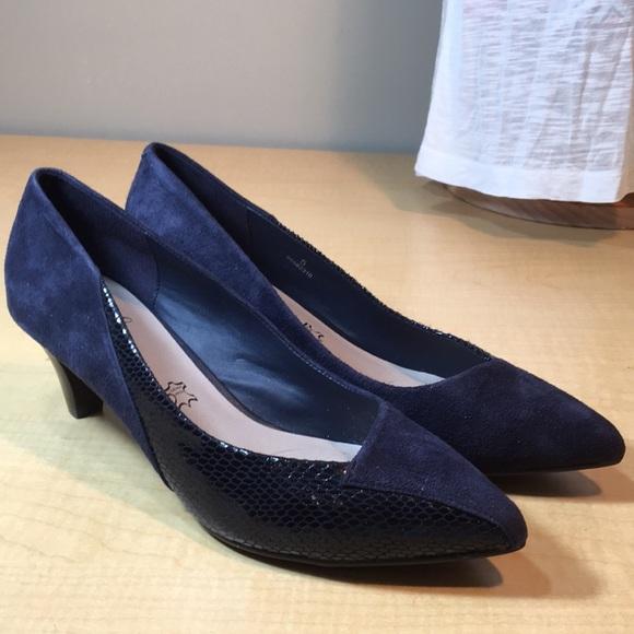 Footglove Navy Blue Leather Low Heel
